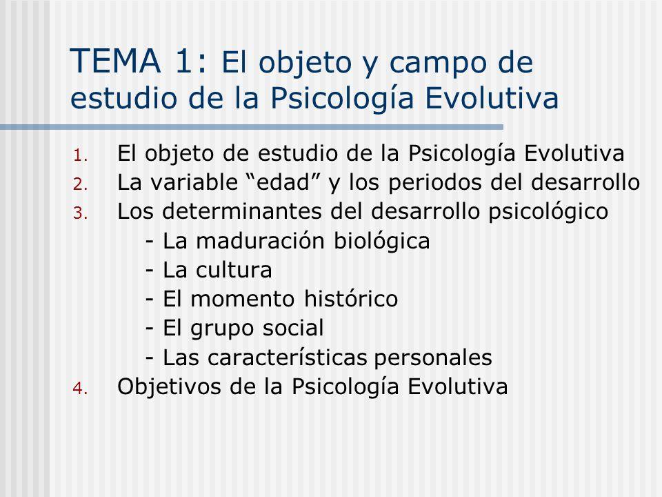 TEMA 1: El objeto y campo de estudio de la Psicología Evolutiva 1. El objeto de estudio de la Psicología Evolutiva 2. La variable edad y los periodos