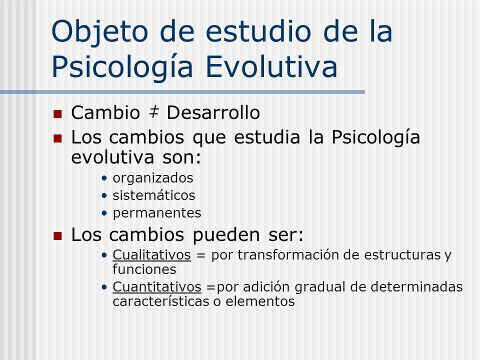 Objeto de estudio de la Psicología Evolutiva Cambio Desarrollo Los cambios que estudia la Psicología evolutiva son: organizados sistemáticos permanent