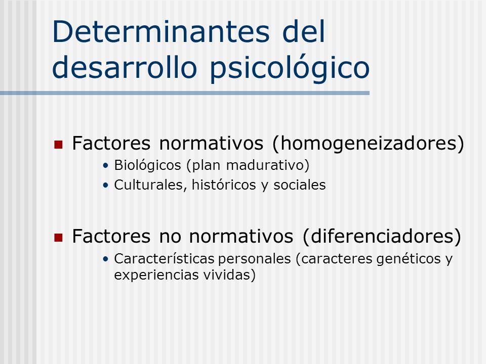 Determinantes del desarrollo psicológico Factores normativos (homogeneizadores) Biológicos (plan madurativo) Culturales, históricos y sociales Factore