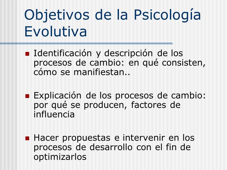 Objetivos de la Psicología Evolutiva Identificación y descripción de los procesos de cambio: en qué consisten, cómo se manifiestan.. Explicación de lo