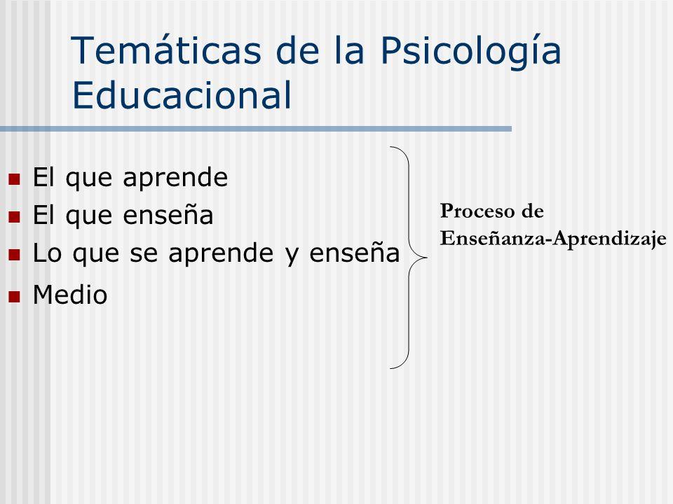 Temáticas de la Psicología Educacional El que aprende El que enseña Lo que se aprende y enseña Medio Proceso de Enseñanza-Aprendizaje