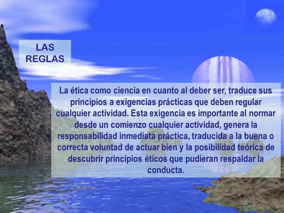 La ética como ciencia en cuanto al deber ser, traduce sus principios a exigencias prácticas que deben regular cualquier actividad. Esta exigencia es i