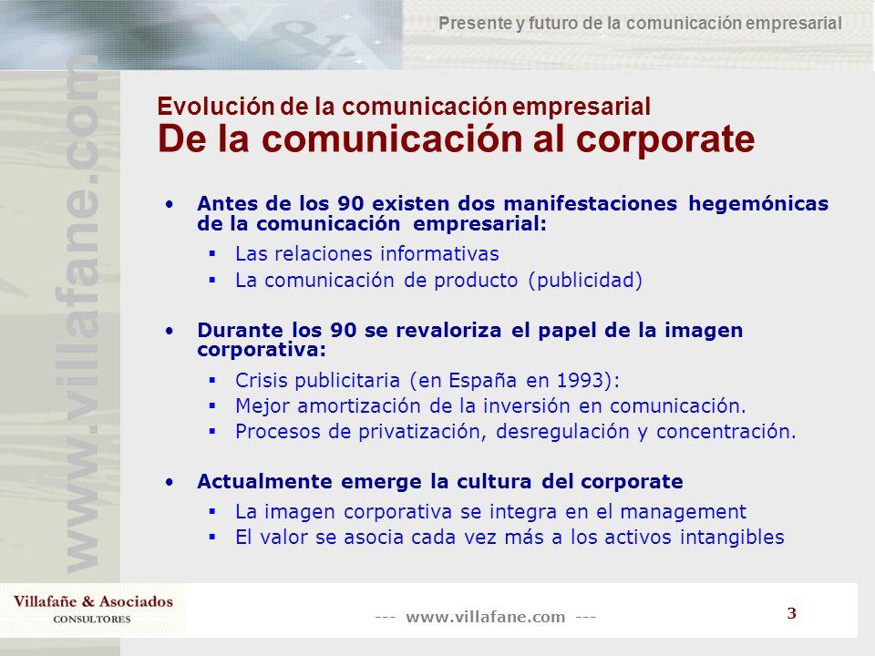 --- www.villafane.com --- www.villafane.com Presente y futuro de la comunicación empresarial 3 Evolución de la comunicación empresarial De la comunica