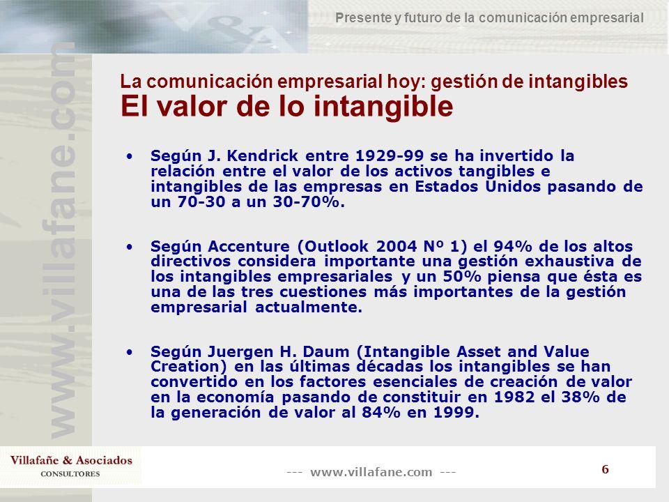 --- www.villafane.com --- www.villafane.com Presente y futuro de la comunicación empresarial 6 La comunicación empresarial hoy: gestión de intangibles