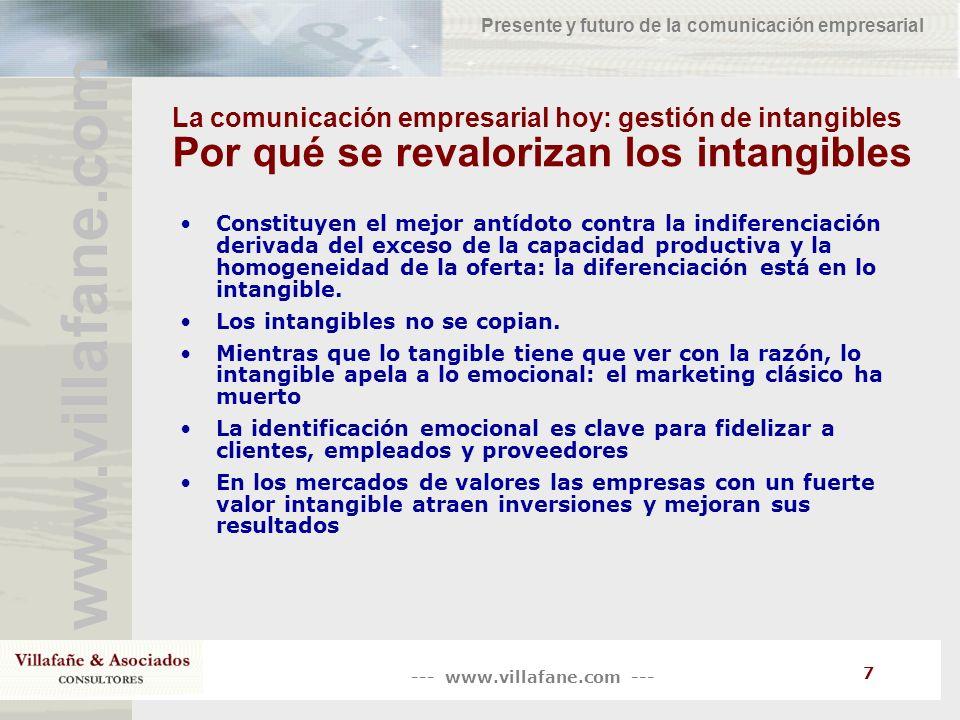 --- www.villafane.com --- www.villafane.com Presente y futuro de la comunicación empresarial 7 La comunicación empresarial hoy: gestión de intangibles