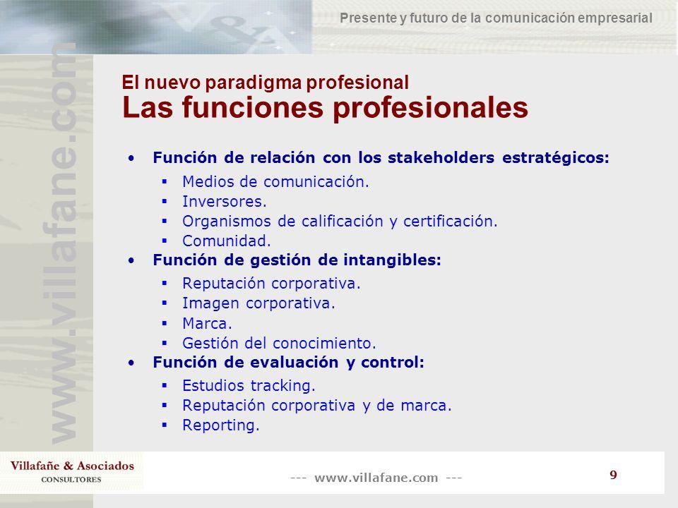 --- www.villafane.com --- www.villafane.com Presente y futuro de la comunicación empresarial 9 El nuevo paradigma profesional Las funciones profesiona