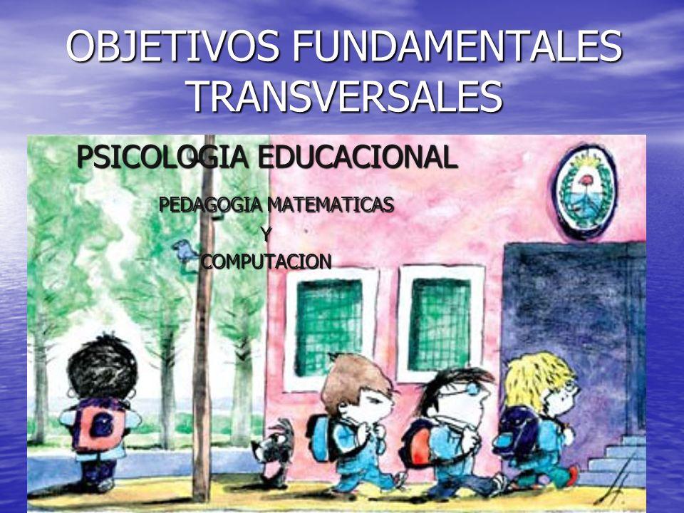 OBJETIVOS FUNDAMENTALES TRANSVERSALES PSICOLOGIA EDUCACIONAL PEDAGOGIA MATEMATICAS PEDAGOGIA MATEMATICASYCOMPUTACION
