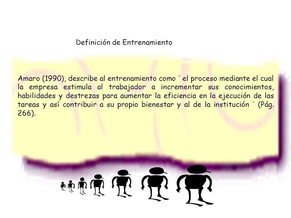 Amaro (1990), describe al entrenamiento como ¨ el proceso mediante el cual la empresa estimula al trabajador a incrementar sus conocimientos, habilida