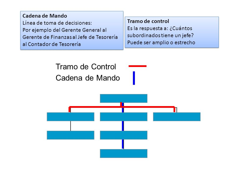Cadena de Mando Línea de toma de decisiones: Por ejemplo del Gerente General al Gerente de Finanzas al Jefe de Tesorería al Contador de Tesorería Cade