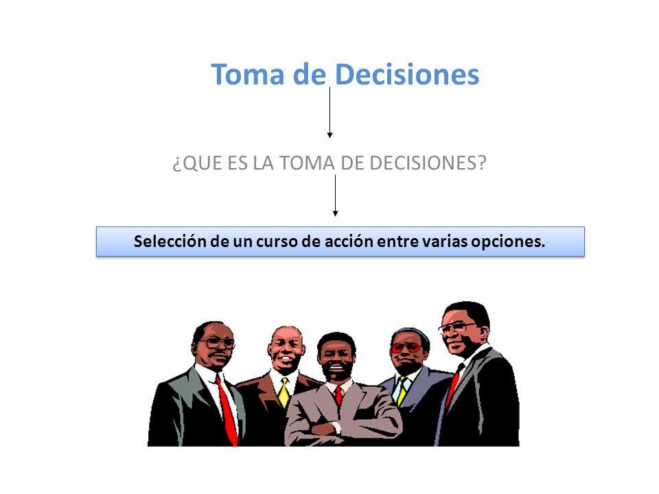 Toma de Decisiones ¿QUE ES LA TOMA DE DECISIONES? Selección de un curso de acción entre varias opciones.