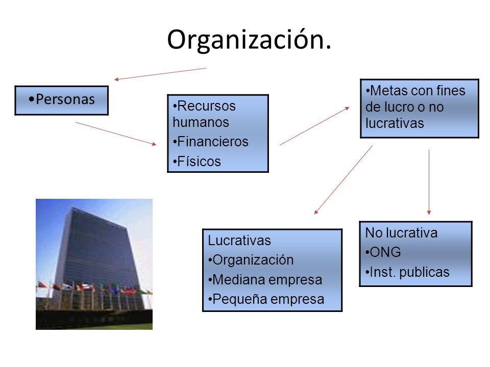 Organización. Personas Recursos humanos Financieros Físicos Metas con fines de lucro o no lucrativas No lucrativa ONG Inst. publicas Lucrativas Organi