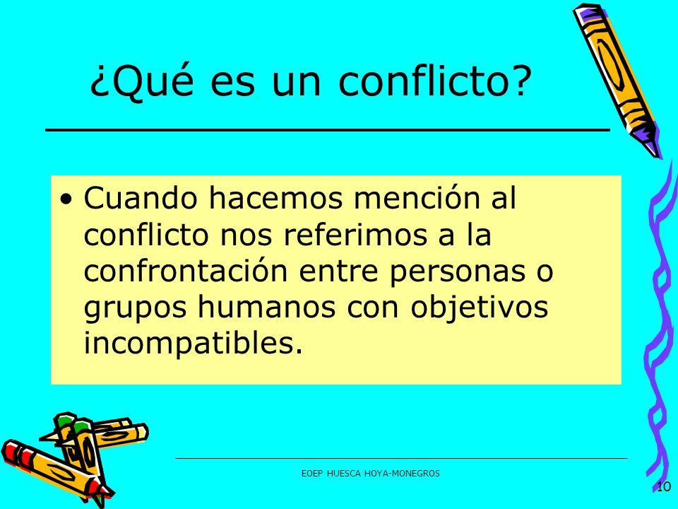 EOEP HUESCA HOYA-MONEGROS ¿Qué es un conflicto? Cuando hacemos mención al conflicto nos referimos a la confrontación entre personas o grupos humanos c