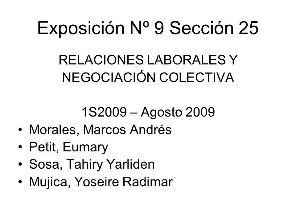 Exposición Nº 9 Sección 25 RELACIONES LABORALES Y NEGOCIACIÓN COLECTIVA 1S2009 – Agosto 2009 Morales, Marcos Andrés Petit, Eumary Sosa, Tahiry Yarlide