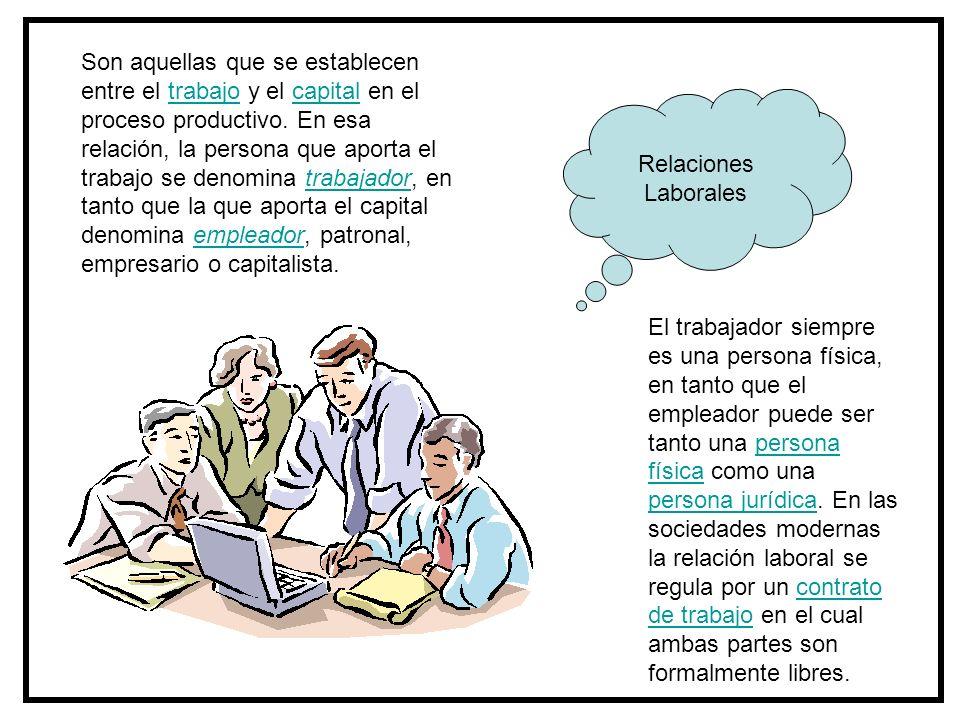 Relaciones Laborales El trabajador siempre es una persona física, en tanto que el empleador puede ser tanto una persona física como una persona jurídi