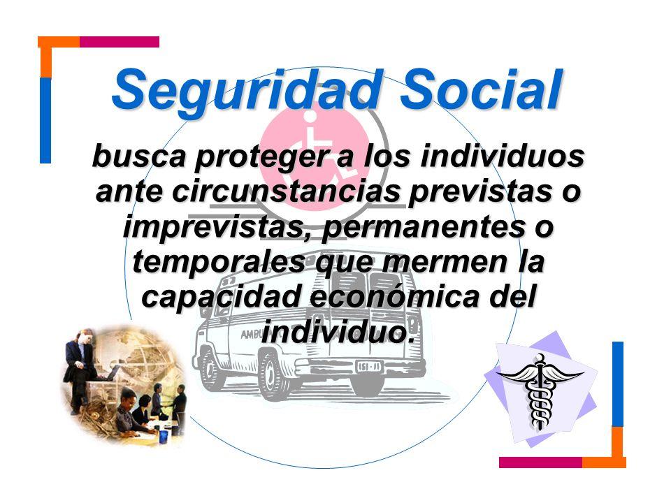 La seguridad social incluye cinco rubros básicos: Vejez invalidez y muerte enfermedad y maternidad accidentes de trabajo Desempleo asignaciones familiares.