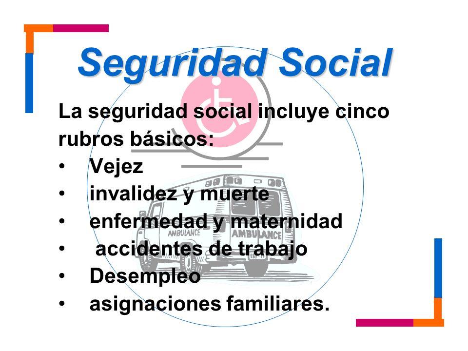 La seguridad social incluye cinco rubros básicos: Vejez invalidez y muerte enfermedad y maternidad accidentes de trabajo Desempleo asignaciones famili