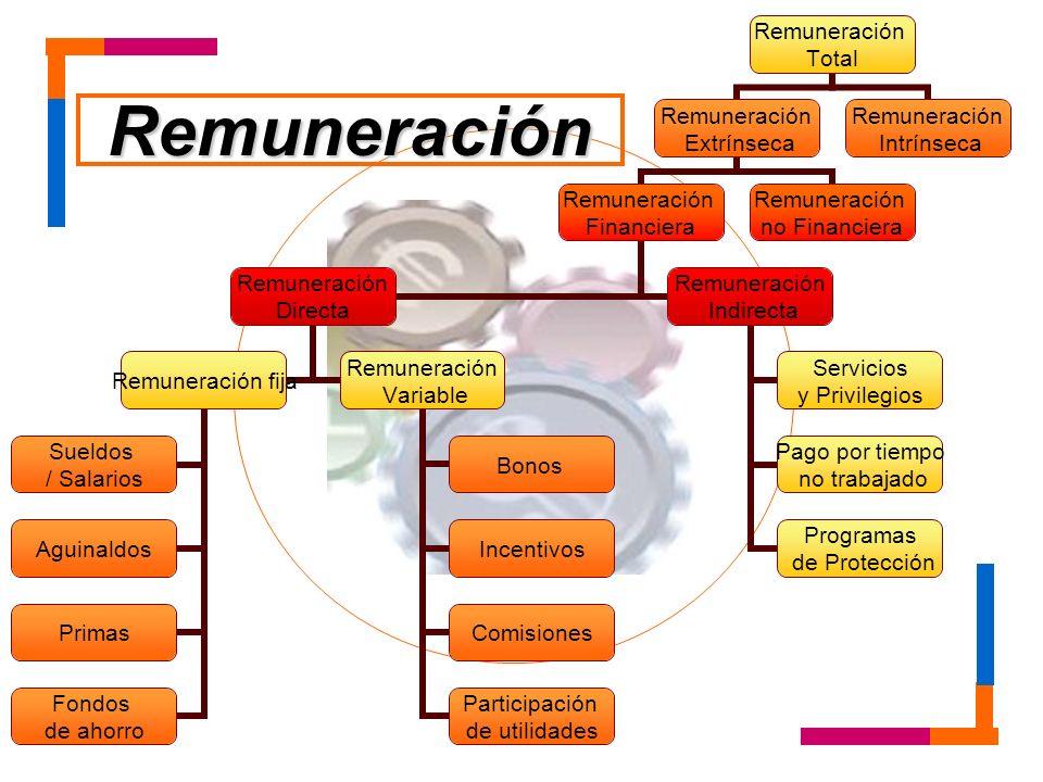Remuneración Total Remuneración Extrínseca Remuneración Financiera Remuneración Directa Remuneración fija Sueldos / Salarios Aguinaldos Primas Fondos