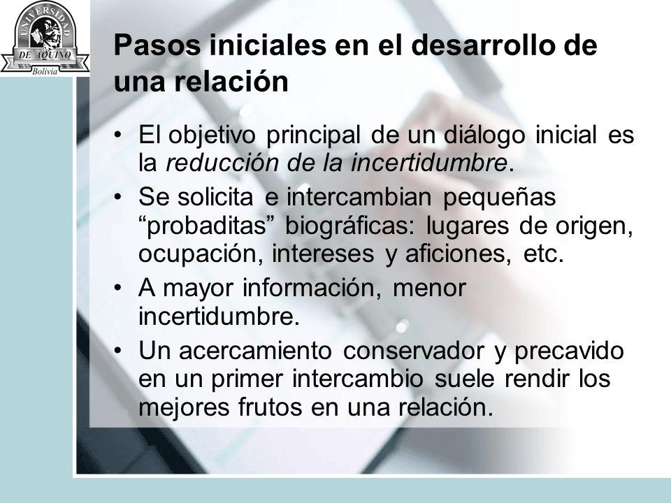 Pasos iniciales en el desarrollo de una relación El objetivo principal de un diálogo inicial es la reducción de la incertidumbre. Se solicita e interc