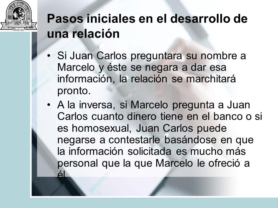 Pasos iniciales en el desarrollo de una relación Si Juan Carlos preguntara su nombre a Marcelo y éste se negara a dar esa información, la relación se
