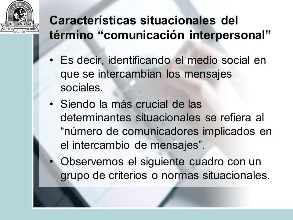 Características situacionales del término comunicación interpersonal Es decir, identificando el medio social en que se intercambian los mensajes socia