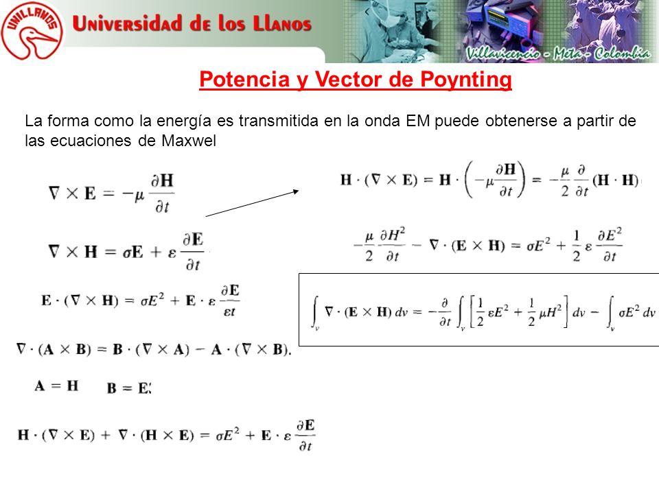 Teorema de divergencia Potencia total saliendo de un volumen Rata de disminución de energía almacenada en E y H Pérdidas óhmicas disipadas Teorema de Poynting