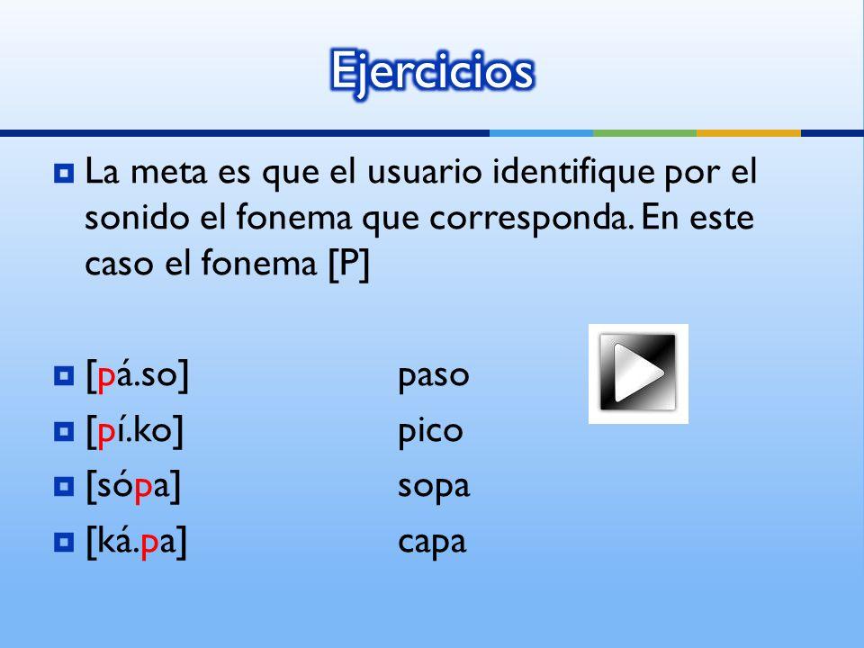 La meta es que el usuario identifique por el sonido el fonema que corresponda.