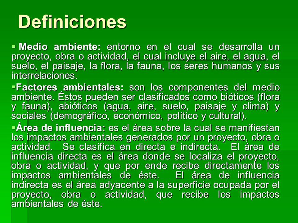Definiciones Medio ambiente: entorno en el cual se desarrolla un proyecto, obra o actividad, el cual incluye el aire, el agua, el suelo, el paisaje, l