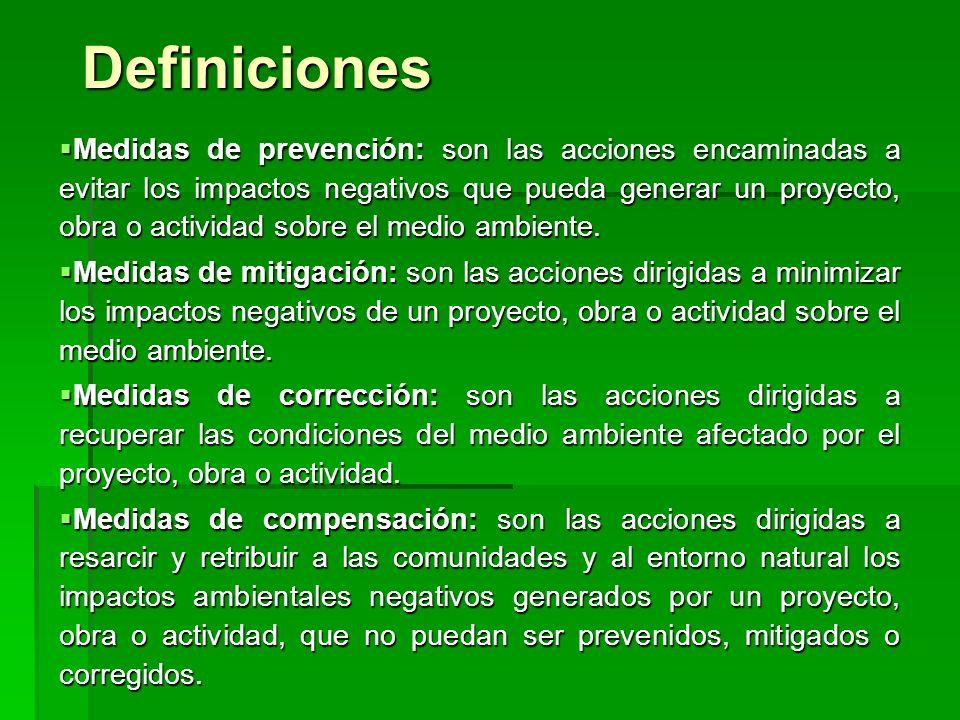 Definiciones Medidas de prevención: son las acciones encaminadas a evitar los impactos negativos que pueda generar un proyecto, obra o actividad sobre