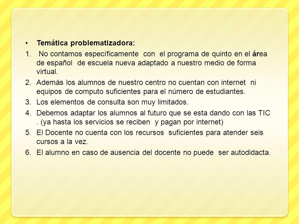 Temática problematizadora: 1. No contamos específicamente con el programa de quinto en el área de español de escuela nueva adaptado a nuestro medio de