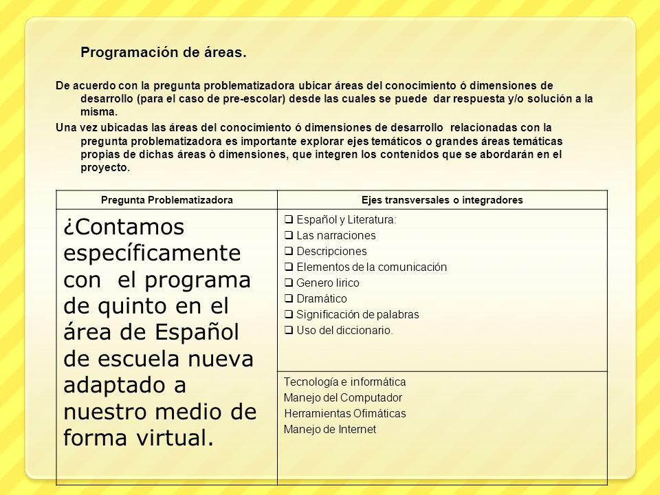Programación de áreas. De acuerdo con la pregunta problematizadora ubicar áreas del conocimiento ó dimensiones de desarrollo (para el caso de pre-esco