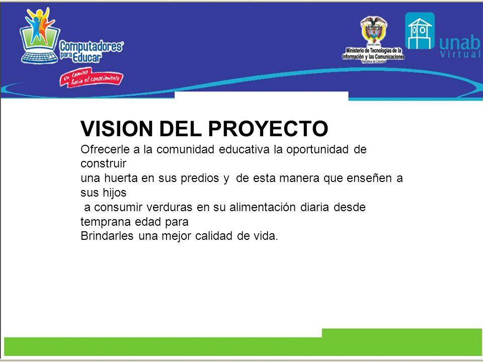 VISION DEL PROYECTO Ofrecerle a la comunidad educativa la oportunidad de construir una huerta en sus predios y de esta manera que enseñen a sus hijos