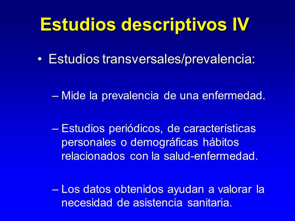 Utilidad de los estudio descriptivos:Utilidad de los estudio descriptivos: –Son fuente de hipótesis.