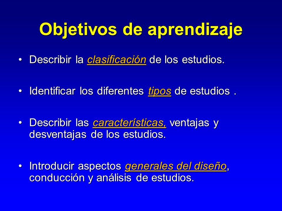Objetivos de aprendizaje Describir la clasificación de los estudios.Describir la clasificación de los estudios. Identificar los diferentes tipos de es
