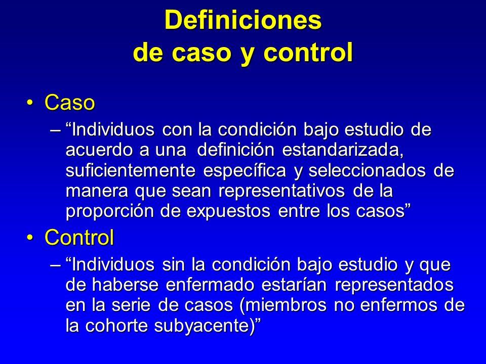 Casos y controles No expuestos Expuestos Población Controles Casos Expuestos No expuestos Tiempo Dirección de la investigación