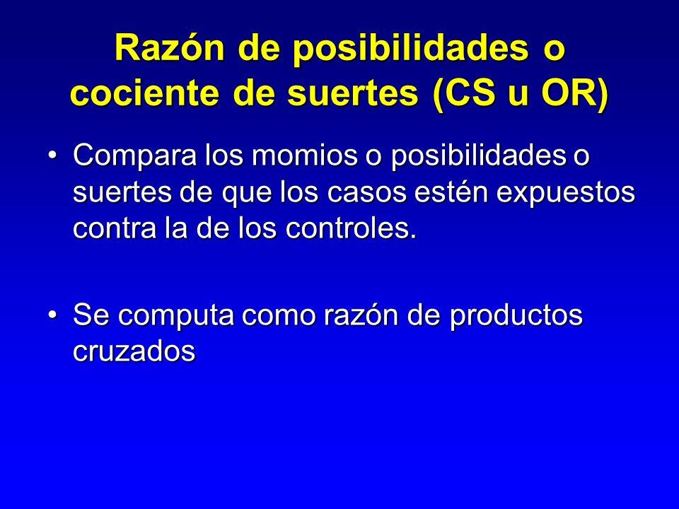 Estudio de Casos y Controles AB CD Expuestos No-expuestos CasosNo-casos N1 N0 M1M0 OR= (A x D)/(C x B) T