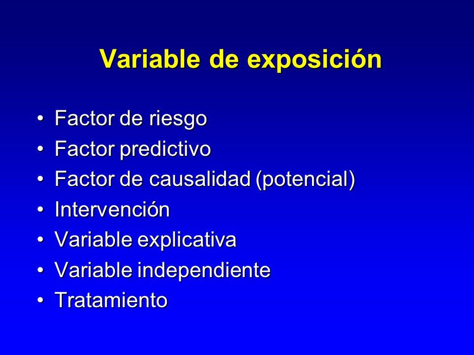 Variable de resultado Condición de estado de salud de interésCondición de estado de salud de interés –Enfermedad / lesión o muerte Llamado también, variable de respuesta, de efecto o de resultadoLlamado también, variable de respuesta, de efecto o de resultado