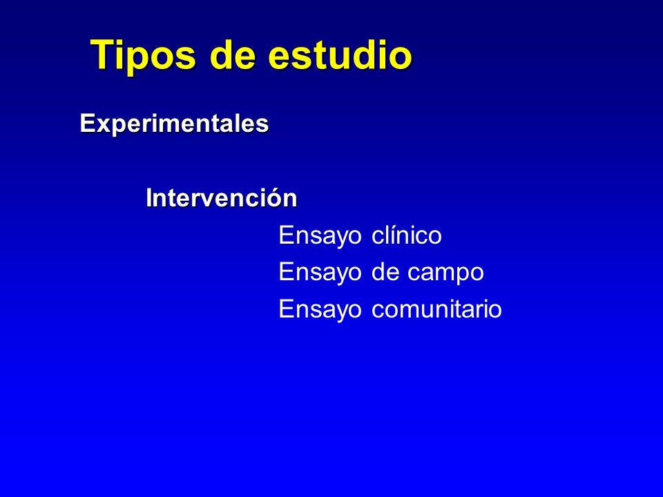 ExperimentalesIntervención Ensayo clínico Ensayo de campo Ensayo comunitario Tipos de estudio