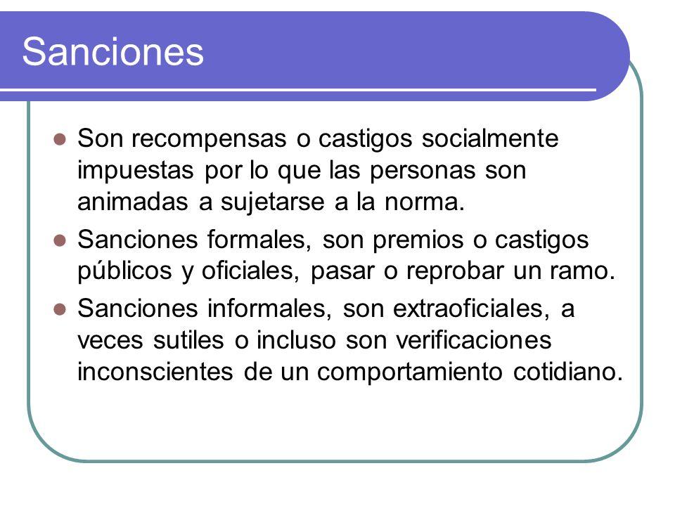 Sanciones Son recompensas o castigos socialmente impuestas por lo que las personas son animadas a sujetarse a la norma. Sanciones formales, son premio