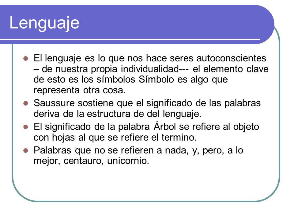 Lenguaje El lenguaje es lo que nos hace seres autoconscientes – de nuestra propia individualidad--- el elemento clave de esto es los símbolos Símbolo