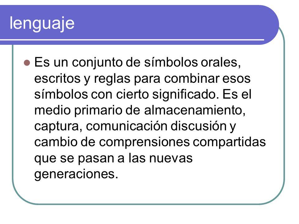 lenguaje Es un conjunto de símbolos orales, escritos y reglas para combinar esos símbolos con cierto significado. Es el medio primario de almacenamien