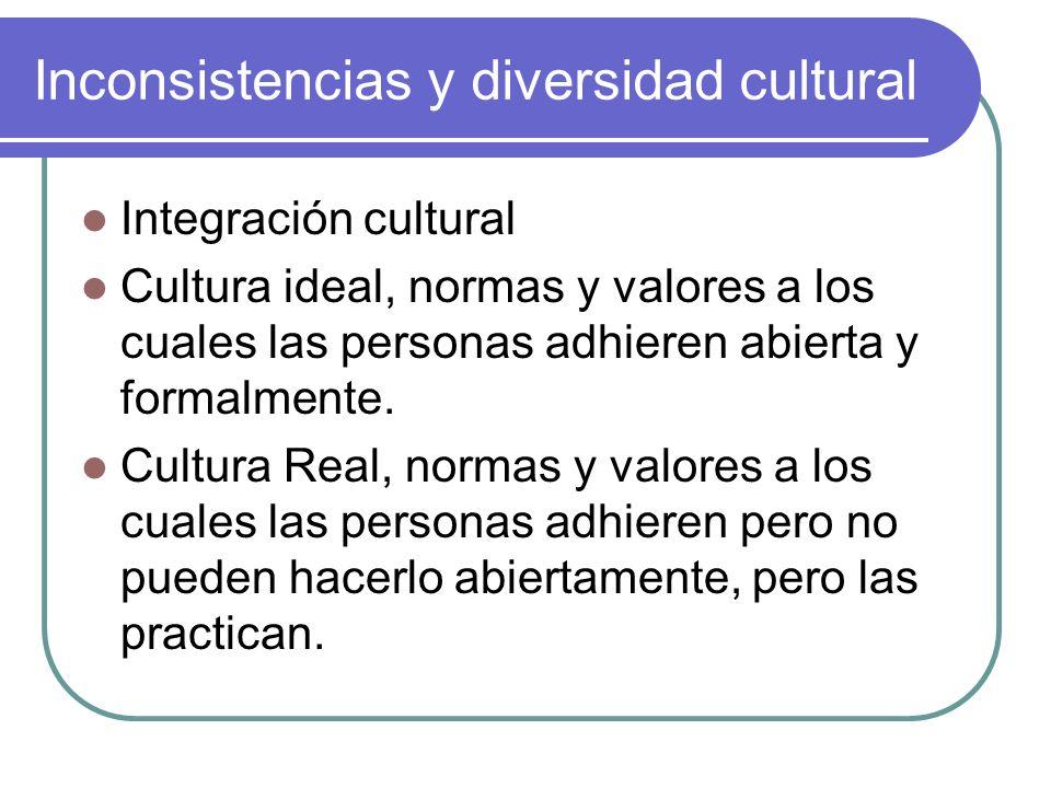 Inconsistencias y diversidad cultural Integración cultural Cultura ideal, normas y valores a los cuales las personas adhieren abierta y formalmente. C