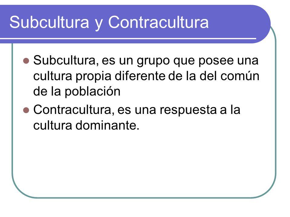 Subcultura y Contracultura Subcultura, es un grupo que posee una cultura propia diferente de la del común de la población Contracultura, es una respue