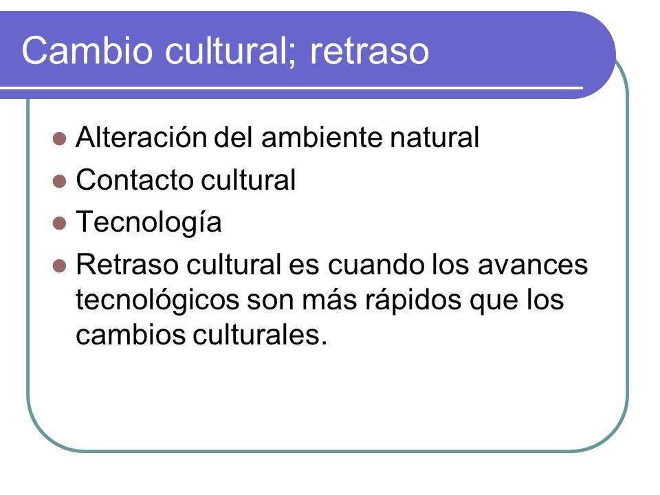 Cambio cultural; retraso Alteración del ambiente natural Contacto cultural Tecnología Retraso cultural es cuando los avances tecnológicos son más rápi