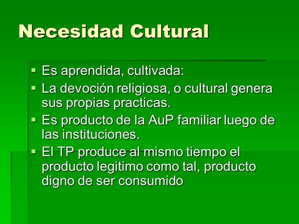 Necesidad Cultural Es aprendida, cultivada: Es aprendida, cultivada: La devoción religiosa, o cultural genera sus propias practicas.