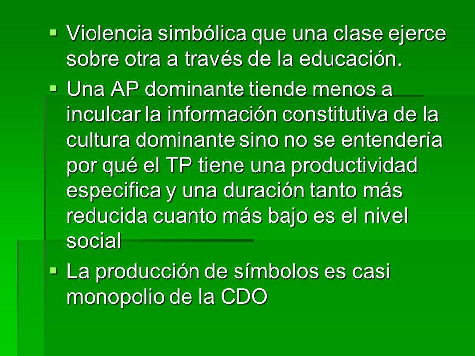 Violencia simbólica que una clase ejerce sobre otra a través de la educación.