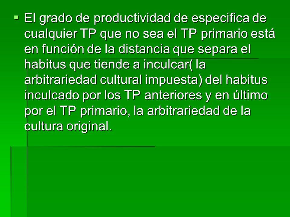 El grado de productividad de especifica de cualquier TP que no sea el TP primario está en función de la distancia que separa el habitus que tiende a inculcar( la arbitrariedad cultural impuesta) del habitus inculcado por los TP anteriores y en último por el TP primario, la arbitrariedad de la cultura original.