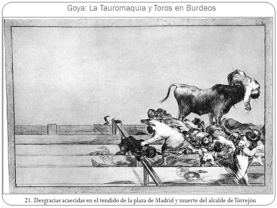 Goya: La Tauromaquia y Toros en Burdeos 21. Desgracias acaecidas en el tendido de la plaza de Madrid y muerte del alcalde de Torrejón