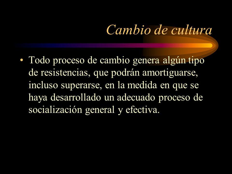 Cambio de cultura Todo proceso de cambio genera algún tipo de resistencias, que podrán amortiguarse, incluso superarse, en la medida en que se haya de