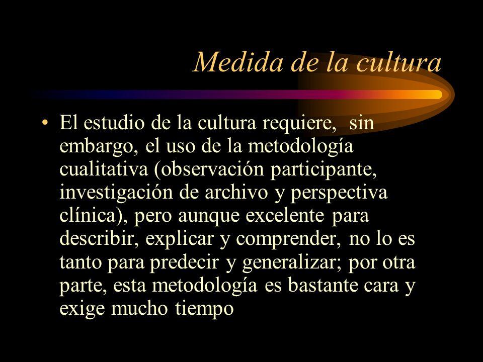 Medida de la cultura El estudio de la cultura requiere, sin embargo, el uso de la metodología cualitativa (observación participante, investigación de