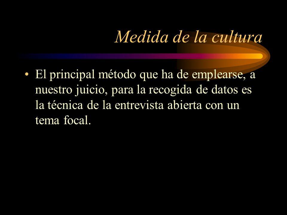 Medida de la cultura El principal método que ha de emplearse, a nuestro juicio, para la recogida de datos es la técnica de la entrevista abierta con u
